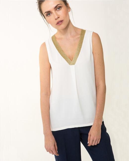 Novel sleeveless ecru top with diamanté neckline (2) - 1-2-3