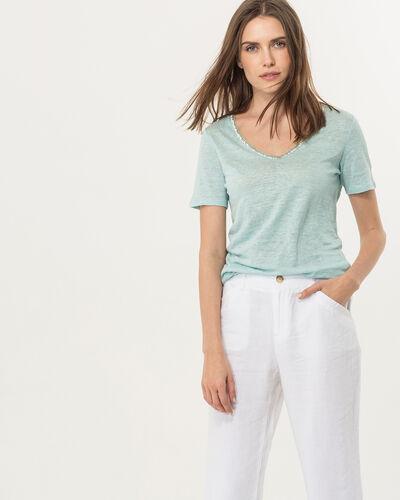 Tee-shirt bleu ciel col perles Nice (1) - 1-2-3