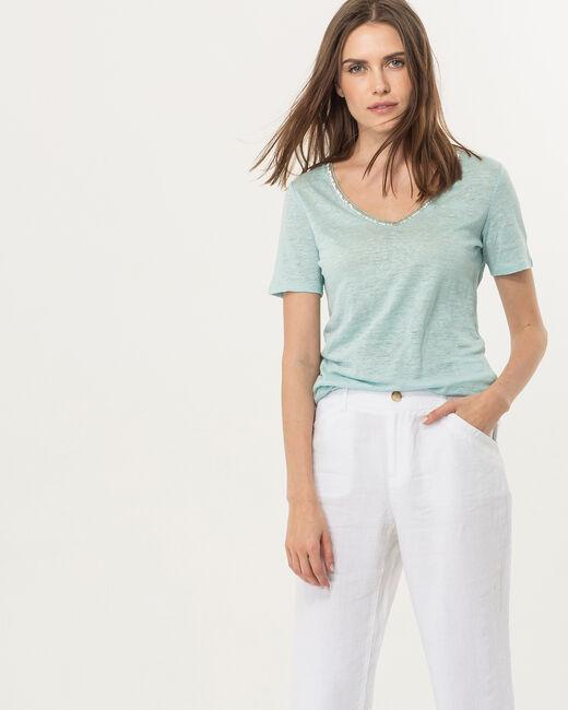 Tee-shirt bleu ciel col perles Nice (2) - 1-2-3