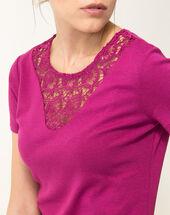 Tee-shirt fuchsia col dentelle nastasia fuchsia fonce.