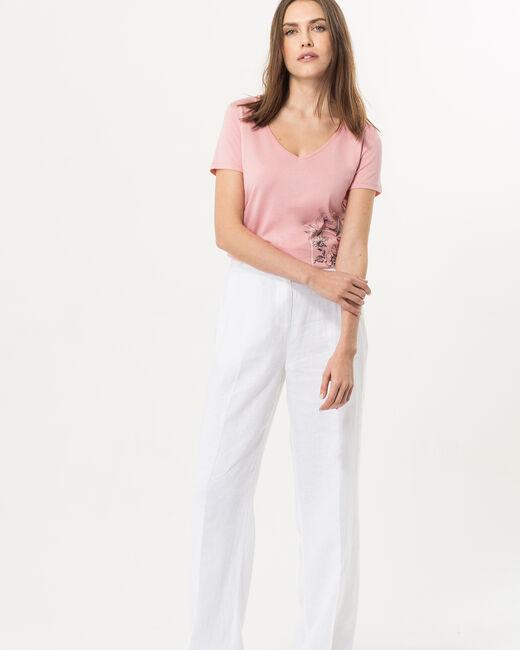 Pantalon large blanc en lin Roller (1) - 1-2-3