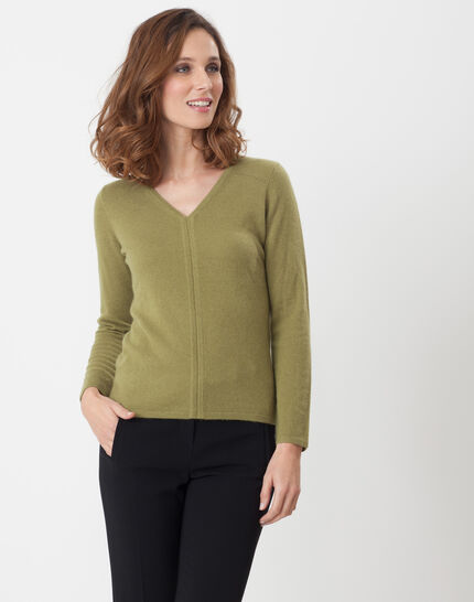 Heart olive green cashmere sweater PhotoZ | 1-2-3