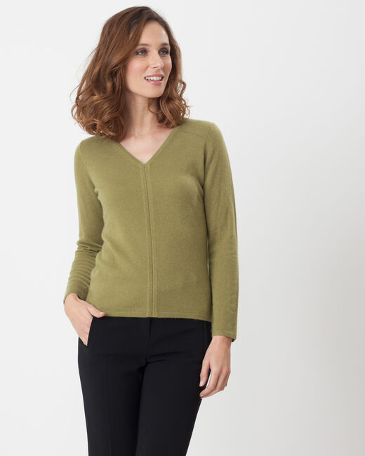 Heart olive green cashmere sweater (1) - 1-2-3