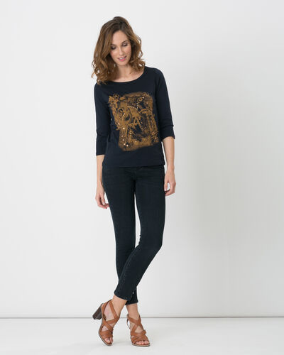 Tee-shirt bleu marine imprimé manches 3/4 Noix (2) - 1-2-3