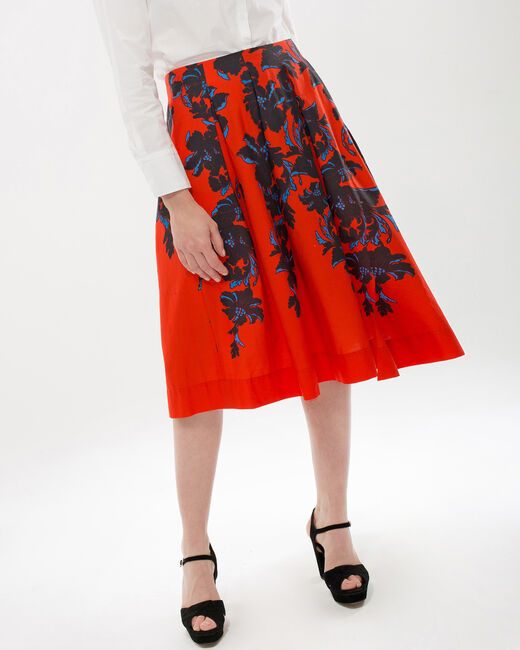 Dulcina red skirt with floral print (1) - 1-2-3