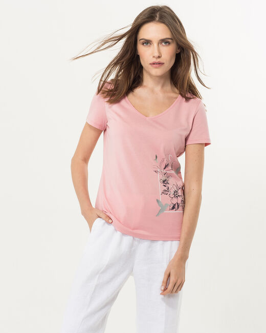 Tee-shirt rose imprimé Ninoxe (2) - 1-2-3