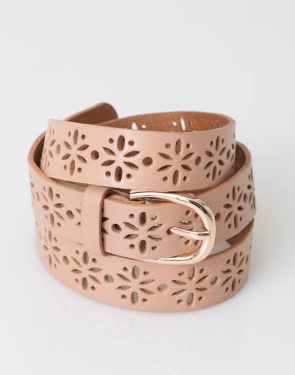 Yolo fine pale pink belt in perforated leather (3) - 1-2-3