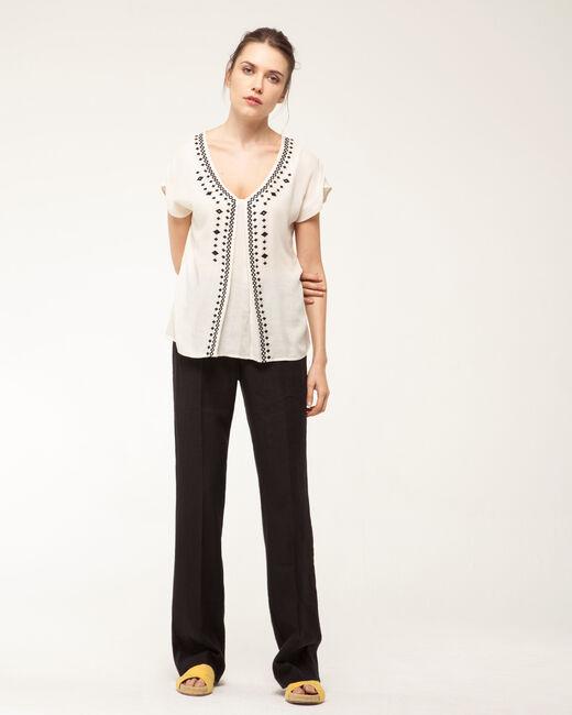Dolly wide-cut black linen trousers   (1) - 1-2-3