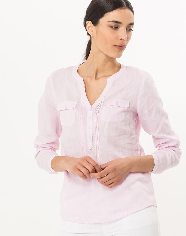 Chemise rose en lin roma à