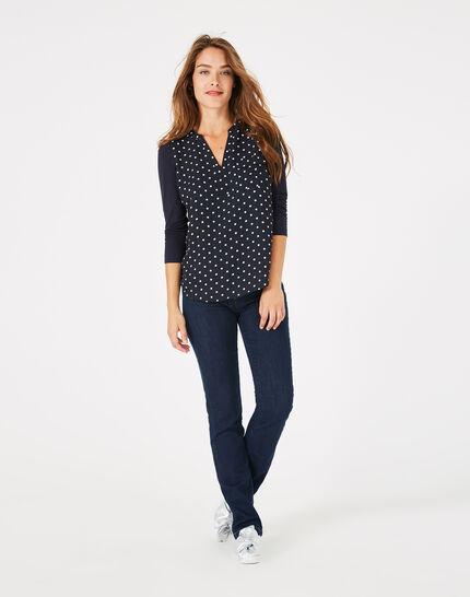 Tee-shirt bleu marine à pois Leden (3) - 1-2-3
