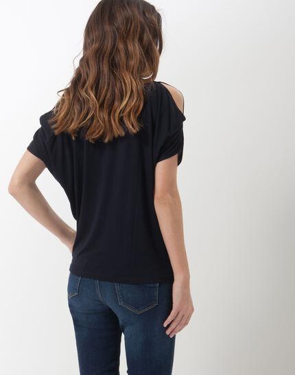 Tee-shirt bleu marine épaules dénudées Nymphe (5) - 1-2-3