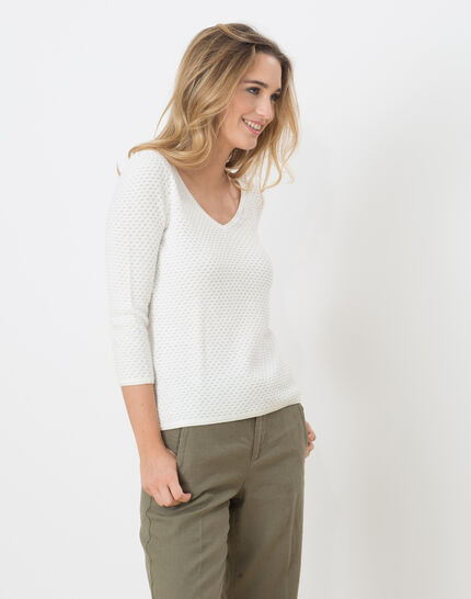 Heidi white sweater with stunning stitchwork (3) - 1-2-3