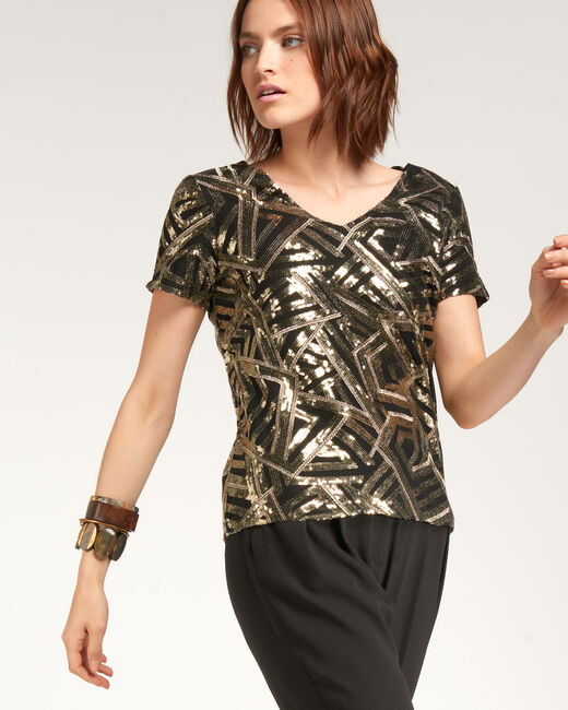Nor gold-coloured sequinned vest top (1) - 1-2-3