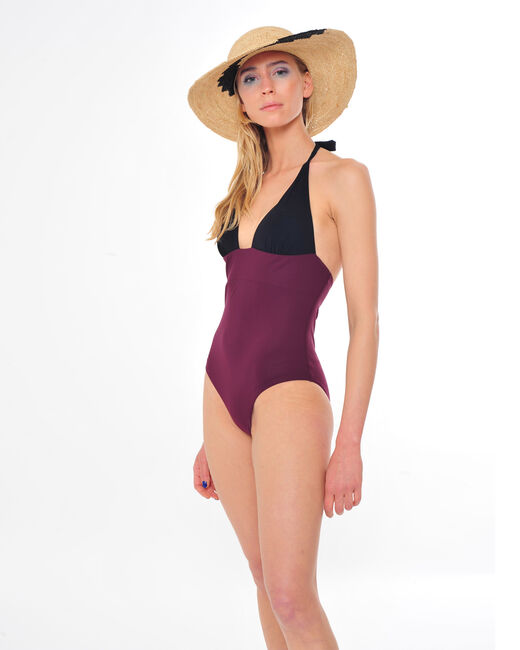 Joe one-piece bandeau swimsuit in black and burgundy  (1) - 1-2-3