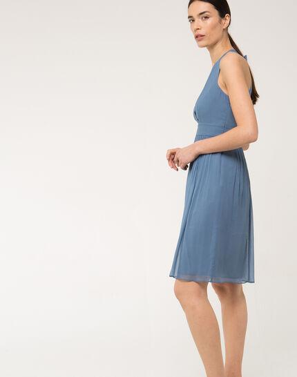 Florane blue silk dress with jewelled back (4) - 1-2-3