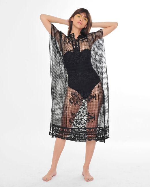 Sophie short black lace kaftan for the beach (2) - 1-2-3