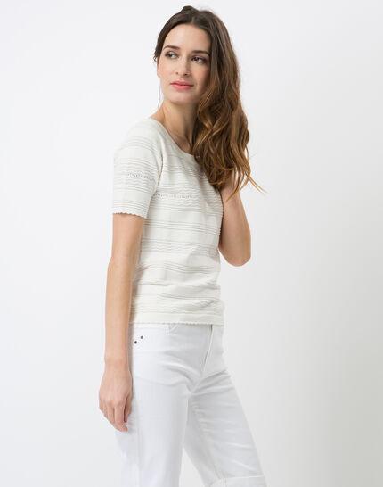 Hélène ecru sweater with stitching detail (3) - 1-2-3
