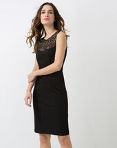 Calypso black dress with swarovski-embellished neckline black.