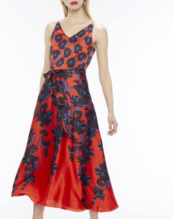 Robe longue rouge imprimé fleuri firmament à
