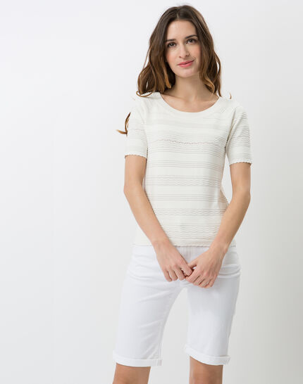 Hélène ecru sweater with stitching detail PhotoZ | 1-2-3
