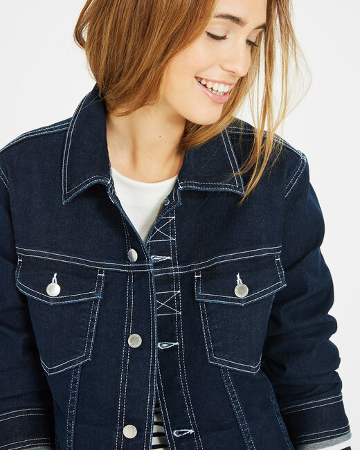 Veste en denim brut surpiqures blanches Mine (2) - 1-2-3
