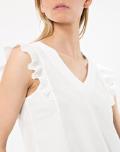 Nathalie ecru t-shirt with frilled sleeves ecru.