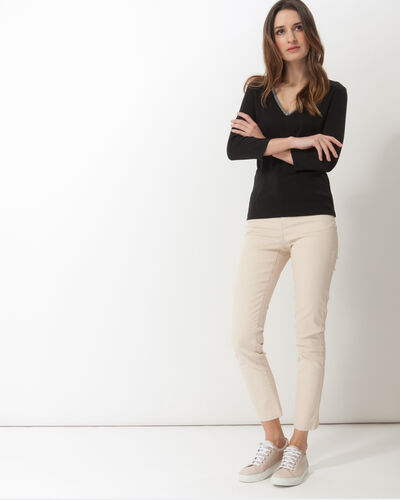 Neck black T-Shirt with diamanté neckline (2) - 1-2-3