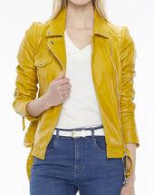 Gabriel yellow biker-style leather jacket sun.