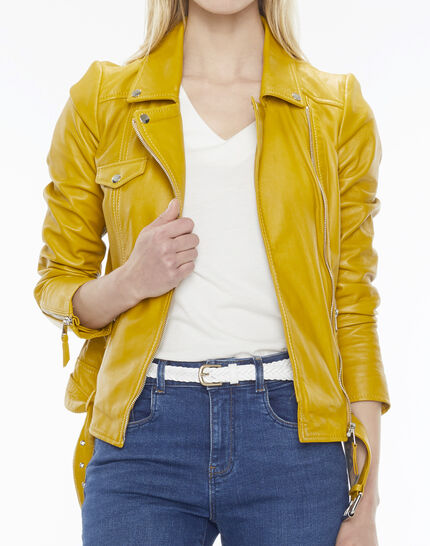 Gabriel yellow biker-style leather jacket PhotoZ | 1-2-3