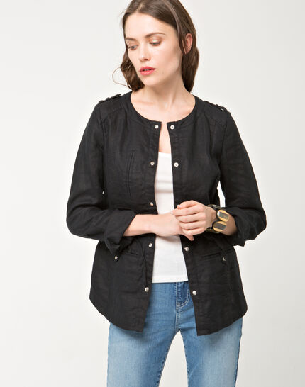 Umbria black linen jacket PhotoZ   1-2-3