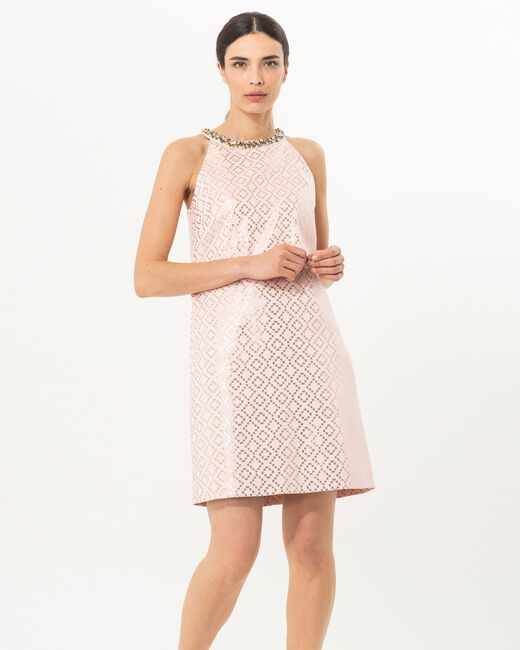 Forever pink jacquard dress with jewelled collar (1) - 1-2-3