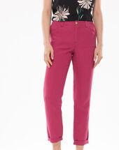Dorian fuchsia cropped linen trousers  dark fuchsia.