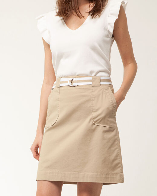 Camille belted beige straight-cut skirt (2) - 1-2-3