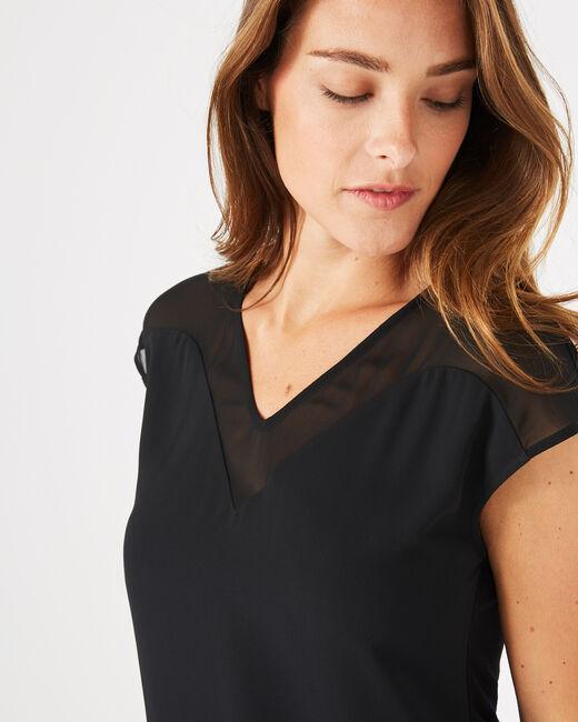 Beryl black dual-fabric T-shirt (2) - 1-2-3