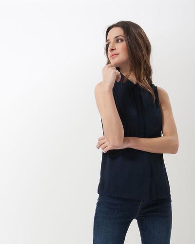 Top bleu marine col chemise Natalia (1) - 1-2-3
