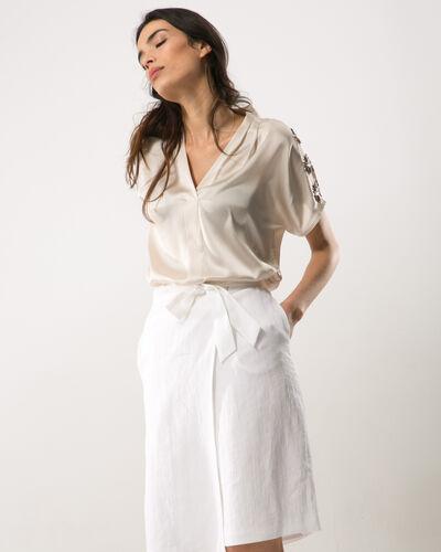 Dahalia white linen skirt (1) - 1-2-3