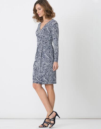 Bermude printed navy blue dress (5) - 1-2-3