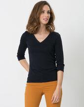 Noria navy blue t-shirt with embroidered neckline navy.