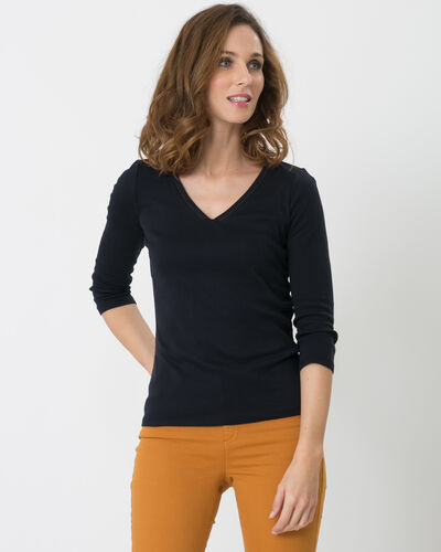 Noria navy blue T-shirt with embroidered neckline (1) - 1-2-3