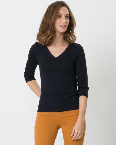 Noria navy blue T-shirt with embroidered neckline (1) - 1-2-3