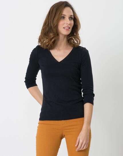 Noria navy blue T-shirt with embroidered neckline PhotoZ | 1-2-3
