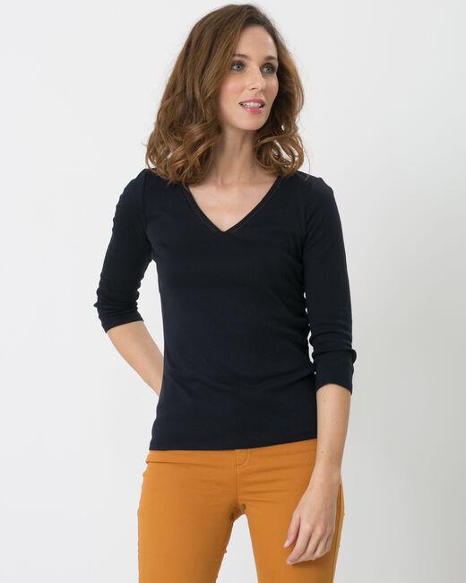 Tee-shirt bleu marine col brodé Noria (2) - 1-2-3