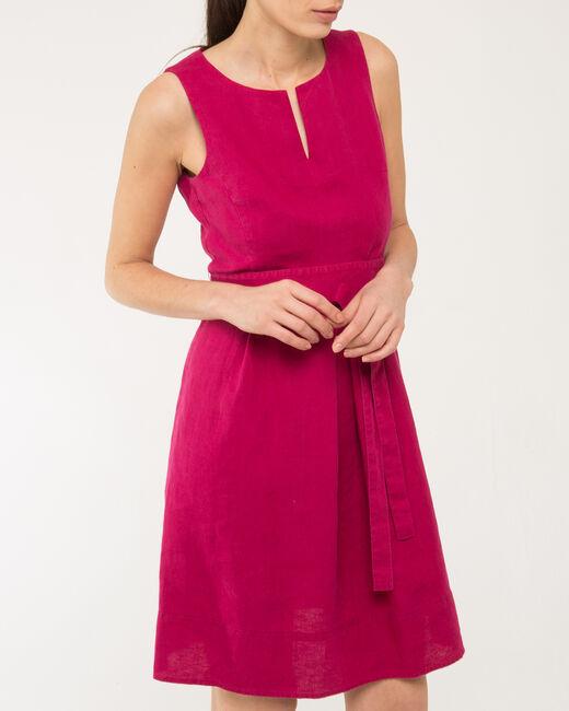 Robe rose ceinturée en lin Okapi (2) - 1-2-3