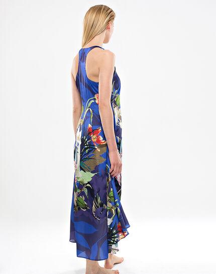 Robe longue bleue imprimé fleuri Béline (4) - 1-2-3