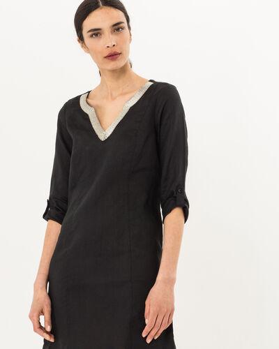 Robe noire en lin Blanche (2) - 1-2-3