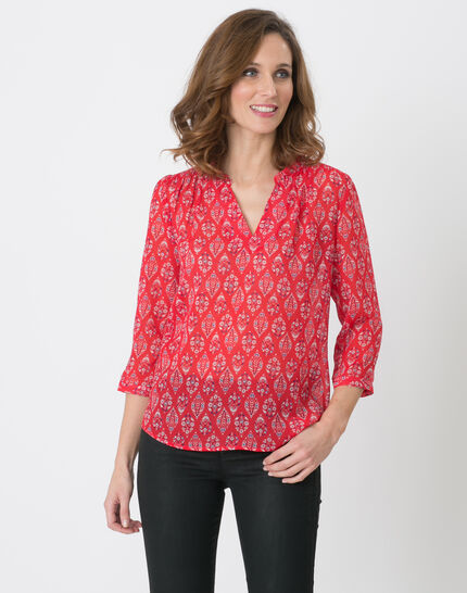 Erine raspberry printed shirt PhotoZ | 1-2-3