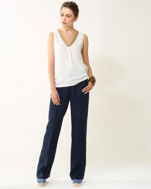 Novel sleeveless ecru top with diamanté neckline (1) - 1-2-3