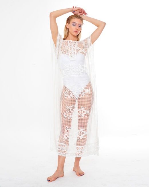 Sophie long white lace kaftan for the beach (2) - 1-2-3