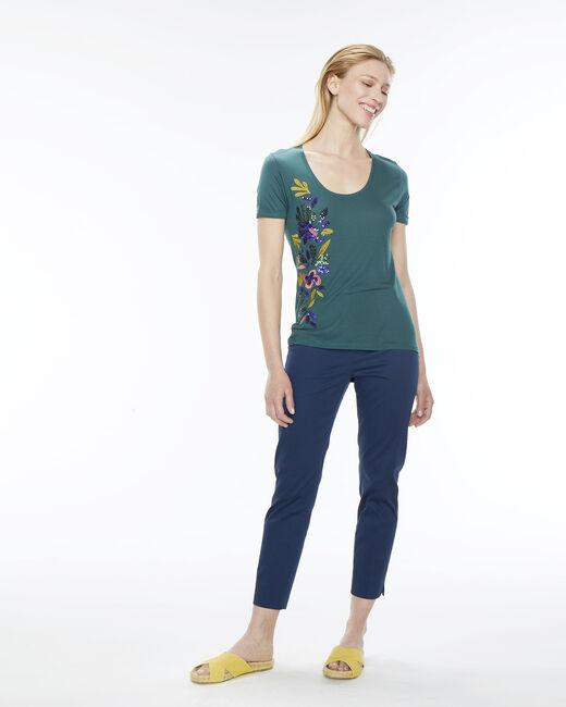 Tee-shirt vert sapin broderies Name (1) - 1-2-3