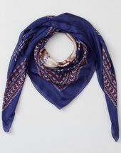 Speranza blue silk printed scarf mid blue.